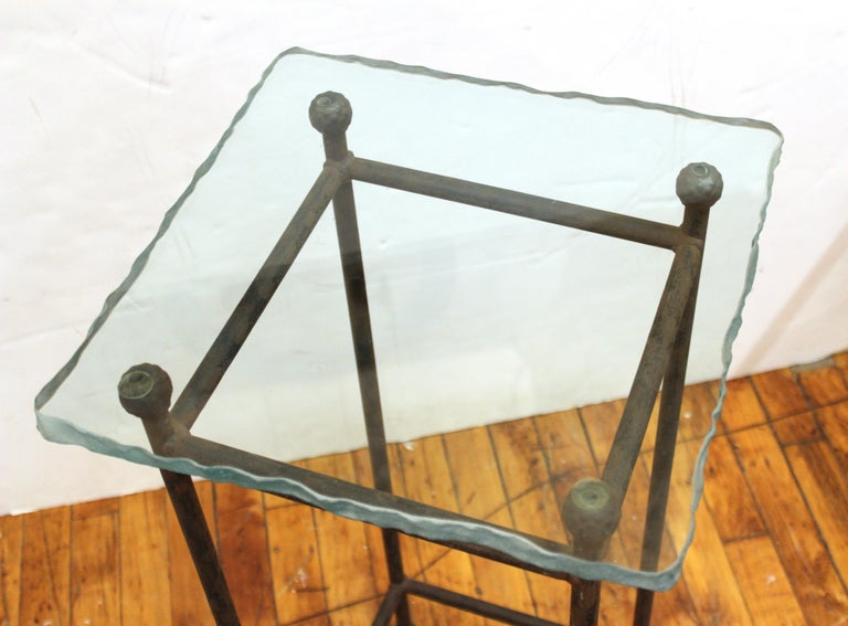 Modern Minimalist Metal & Glass Side Tables or Pedestals For Sale 7