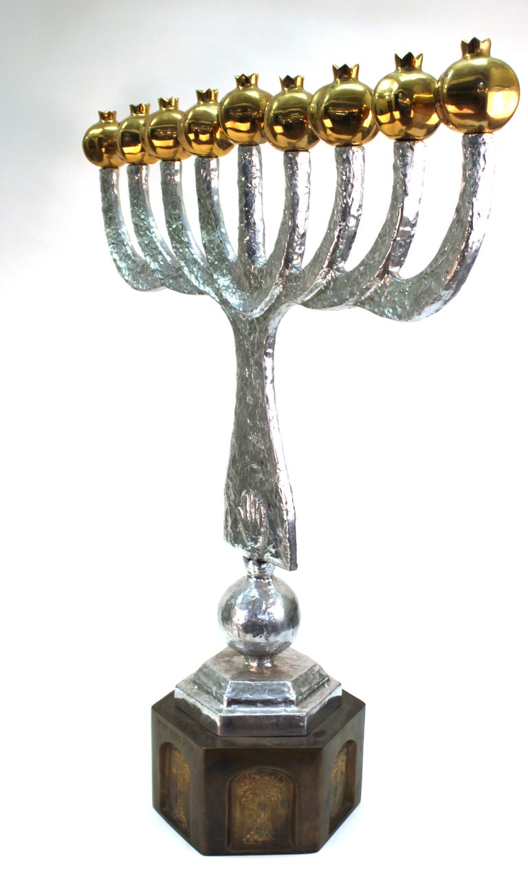 Modern bronze and cast aluminium menorah by Oded Halahmy, titled 'Round Light, created in 1998. Marked by the artist and dated on the side. In great vintage condition.