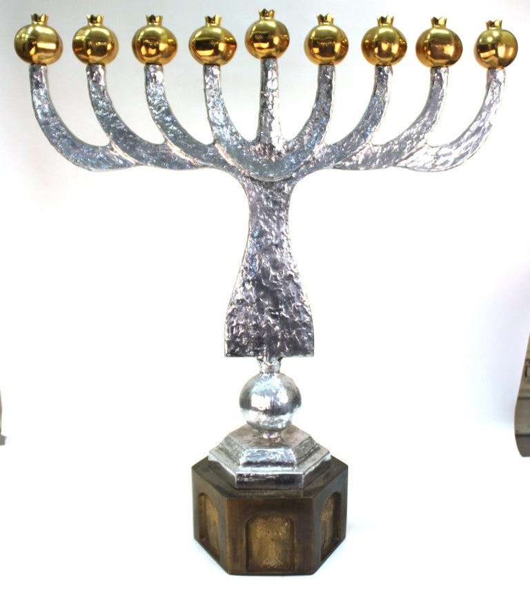 Late 20th Century Oded Halahmy 'Round Light' Modern Bronze and Aluminium Cast Menorah For Sale