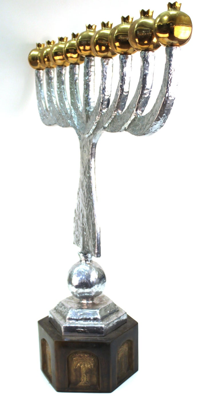 Aluminum Oded Halahmy 'Round Light' Modern Bronze and Aluminium Cast Menorah For Sale