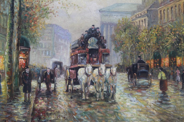 Albert Munghard (American, 1919-1998) Belle Époque style oil on board painting of a Parisian street scene near the Eglise de la Madeleine, with horses and carriages. The piece is signed in the lower left 'A. Munghard'. In great vintage condition.