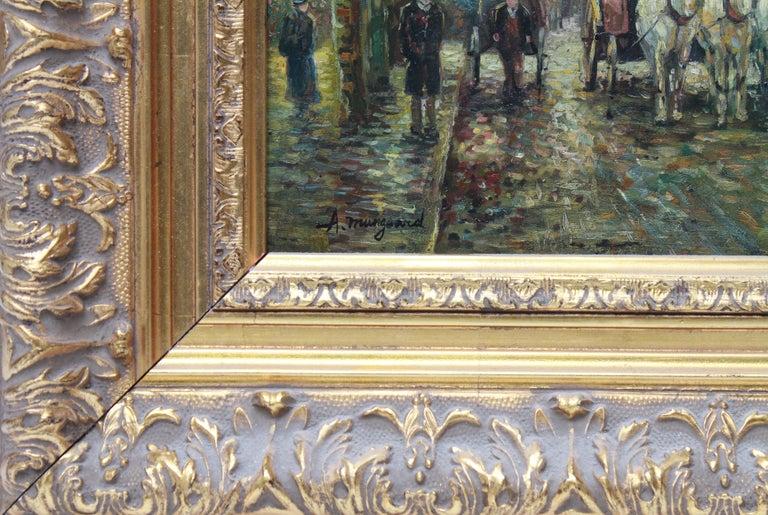 Belle Époque Albert Munghard Oil Painting of Paris Street Scene For Sale