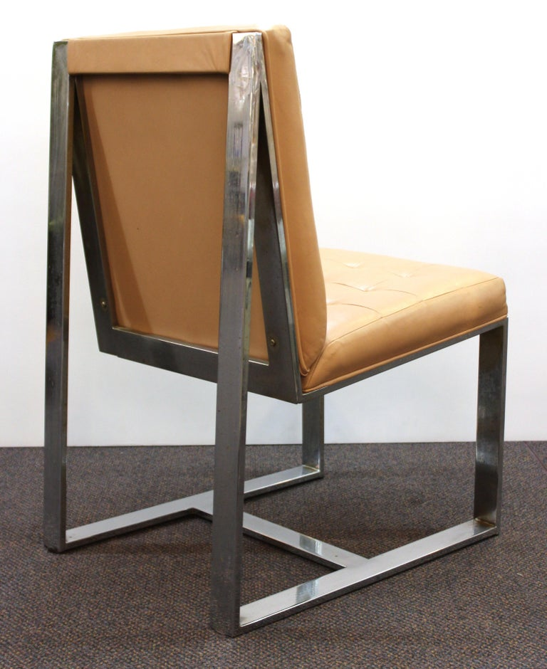 Late 20th Century Milo Baughman Mid-Century Modern Cantilevered Chrome Dining Chairs For Sale