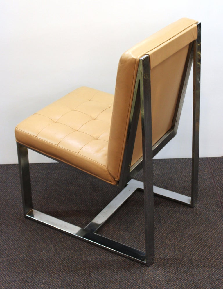 Milo Baughman Mid-Century Modern Cantilevered Chrome Dining Chairs For Sale 1