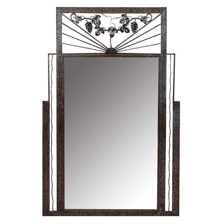 Art Deco Iron-Framed Mirror with Grape and Leaf Detailing