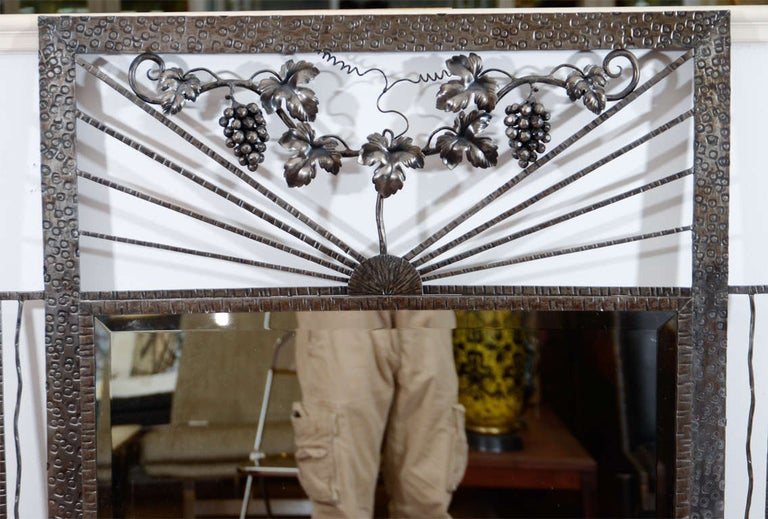 American Art Deco Iron-Framed Mirror with Grape and Leaf Detailing For Sale