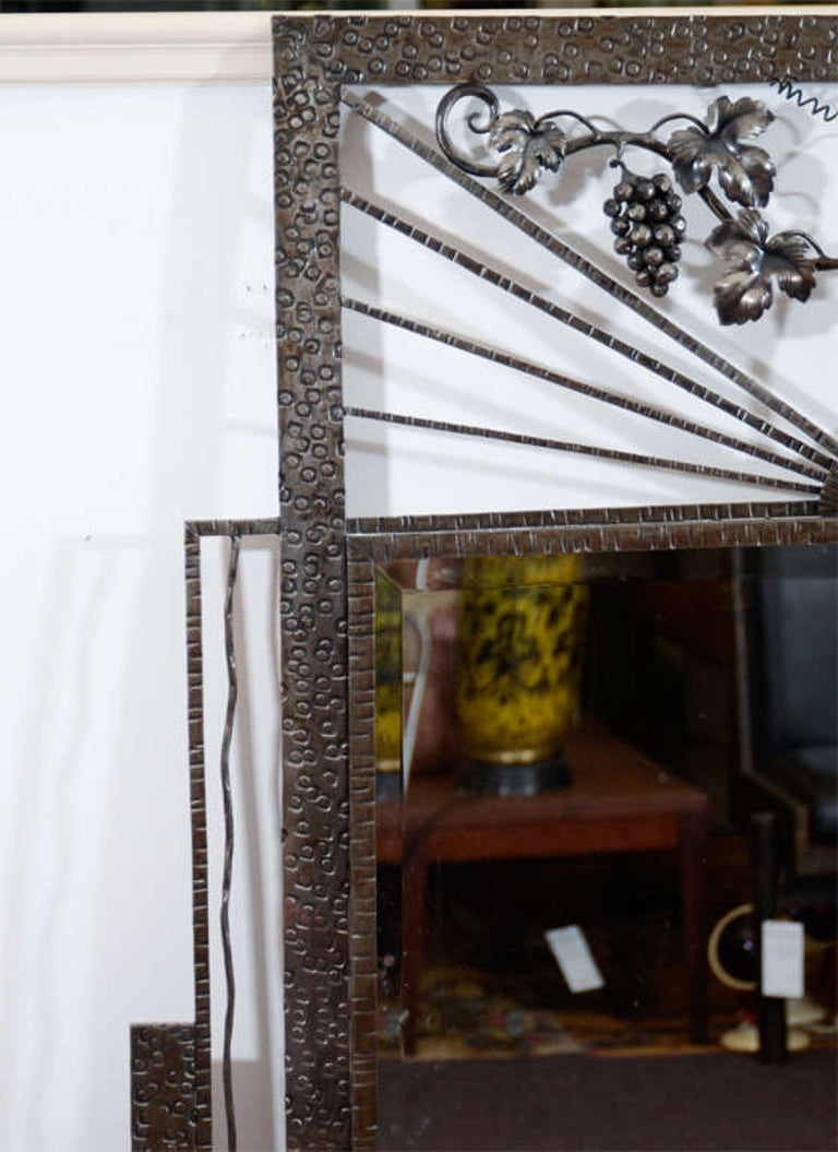 Art Deco Iron-Framed Mirror with Grape and Leaf Detailing In Good Condition For Sale In New York, NY