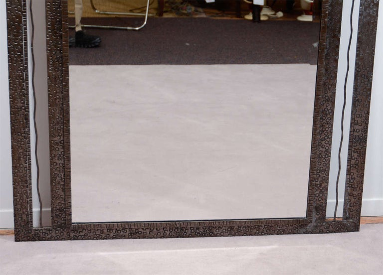 Early 20th Century Art Deco Iron-Framed Mirror with Grape and Leaf Detailing For Sale