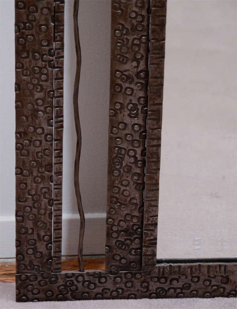 Art Deco Iron-Framed Mirror with Grape and Leaf Detailing For Sale 1