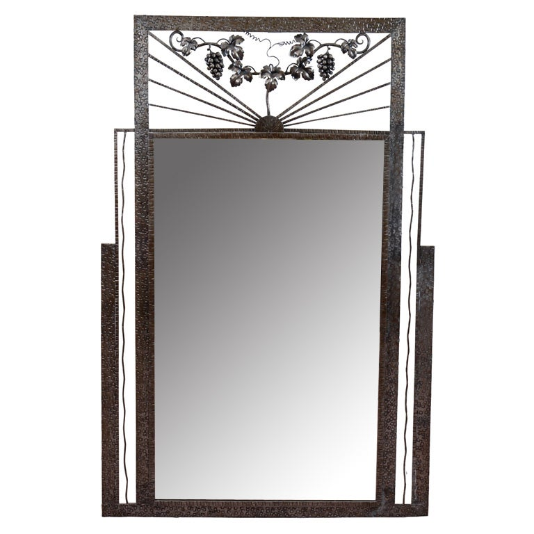 Art Deco Iron-Framed Mirror with Grape and Leaf Detailing For Sale 2