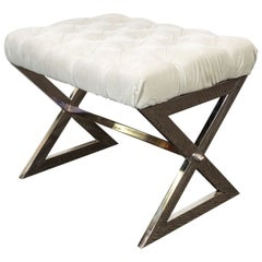 Milo Baughman Midcentury Chrome X-Base Bench with Tufted White Velvet Seat