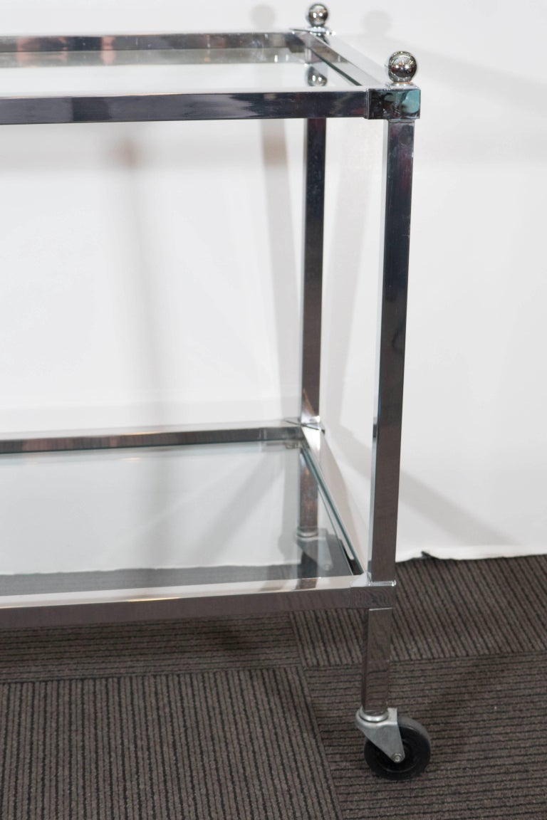 Chrome Bar Cart with Glass Shelves For Sale at 1stdibs