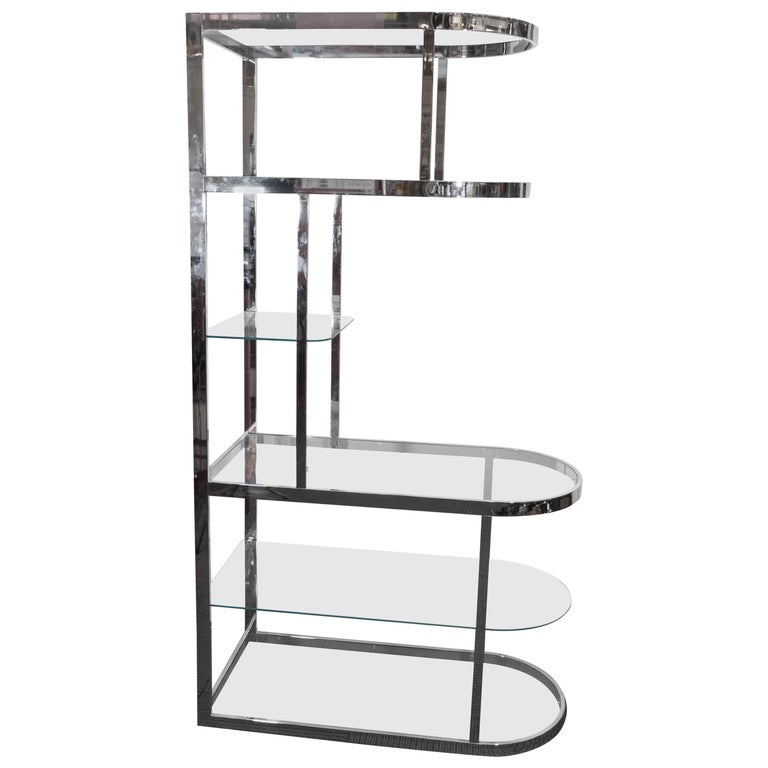 Streamlined Chrome Etagere and Room Divider in the Style of Milo Baughman
