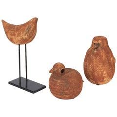 Set of Three Rare Aldo Londi for Bitossi Terracotta Bird Sculptures