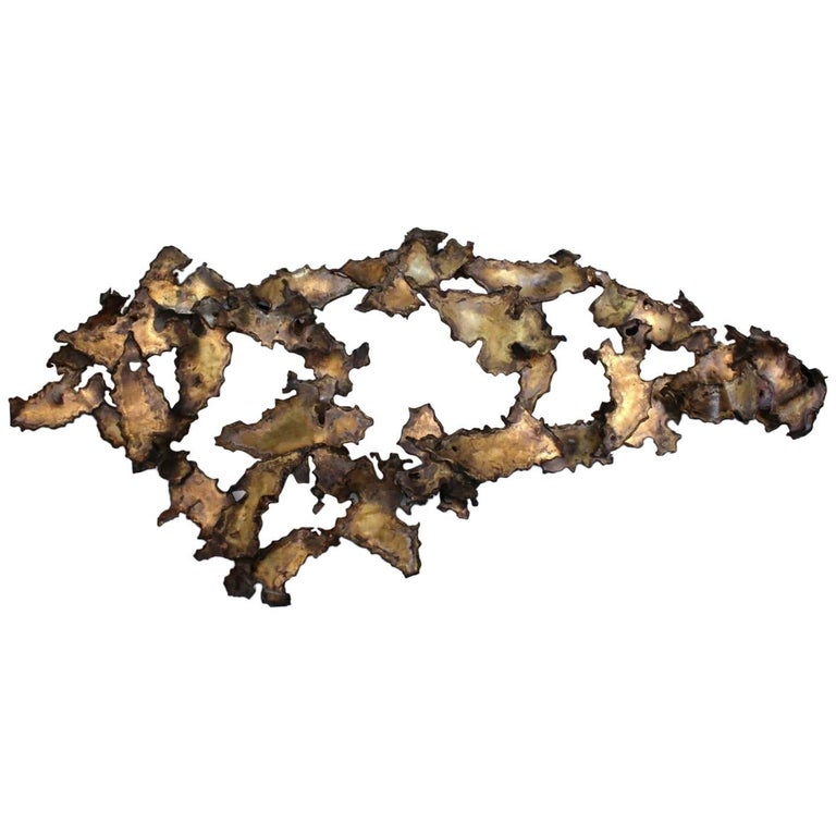 Brutalist Wall Sculpture of Patinated Brass in the Manner of Silas Seandel