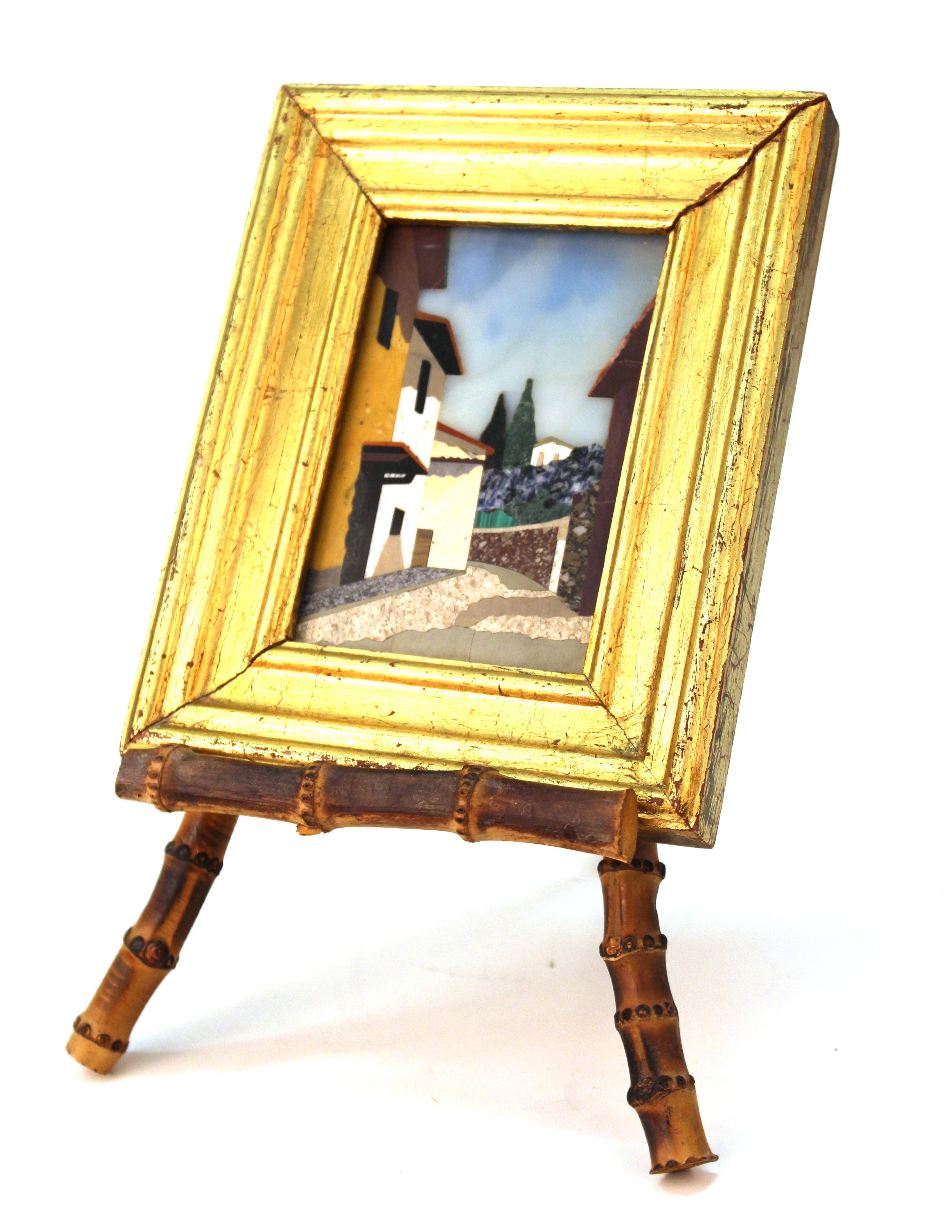 Italian Pietra Dura Plaque on Bamboo Easel, Depicting Tuscan Village ...