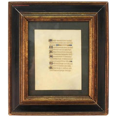 Medieval Style Illuminated Framed Latin Manuscript Page