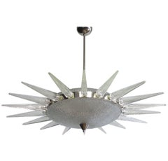 Sunburst Murano Glass Chandelier in the Style of Seguso