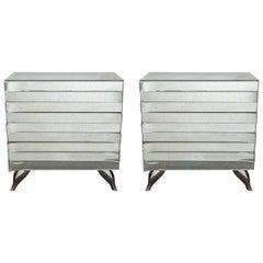 Pair of 20th Century Custom Made Three-Drawer Mirrored Commodes