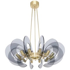 Restored Italian Chandelier in Brass and Blue Glass, Attributed to Fontana Arte