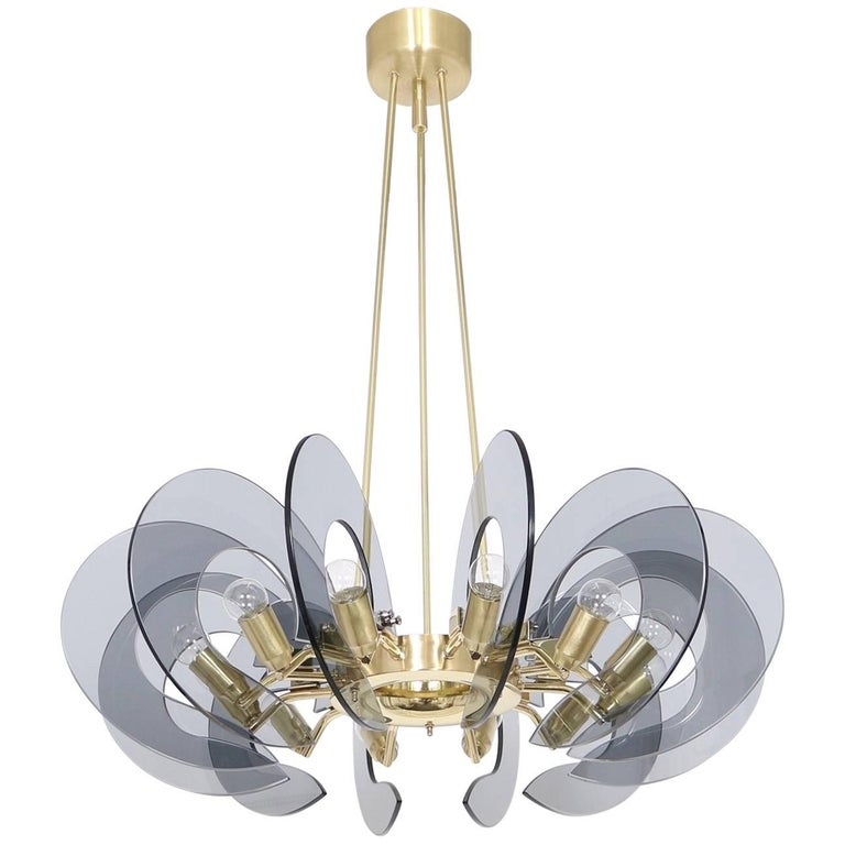 Restored Italian Chandelier in Brass and Blue Glass, Attributed to Fontana Arte For Sale