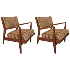 Pair of Midcentury Jens Risom Walnut Occasional Armchairs in Striped Chenille