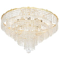 Midcentury Gold-Plated Chandelier with Austrian Crystals