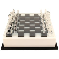 Large Mid-Century Modern Lucite Chess Set with Elaborate Chess Pieces