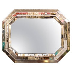 Hollywood Regency Venetian Mirror with Etched Floral Details and Stitch Border