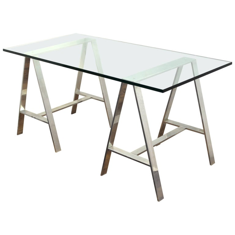 Mid-Century Modern Saw Horse Desk with Aluminium Base and Glass Top For Sale