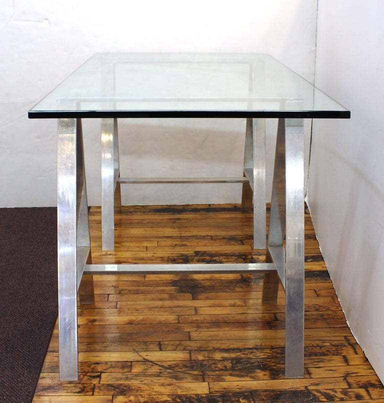 American Mid-Century Modern Saw Horse Desk with Aluminium Base and Glass Top For Sale