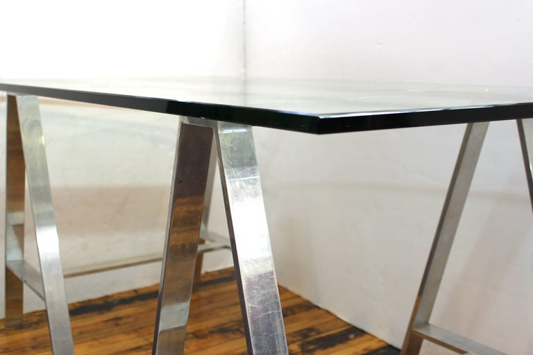 Mid-Century Modern Saw Horse Desk with Aluminium Base and Glass Top For Sale 6