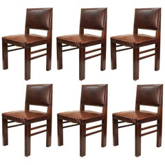 American Arts & Crafts Oak Chairs with Cognac Colored Leather Seats