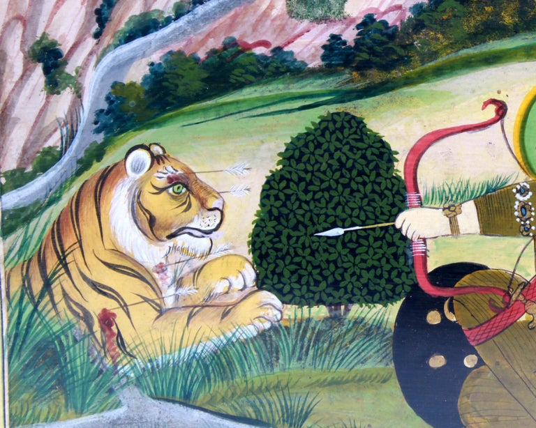 East Indian Gouache Painting of Archer and Tiger In Good Condition For Sale In New York, NY