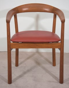 Pair of Midcentury Carl-Axel Acking Teak Round Back Armchairs with Leather Seats
