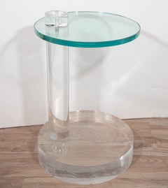 1970's Round Thick Lucite Base End Table with Glass Top