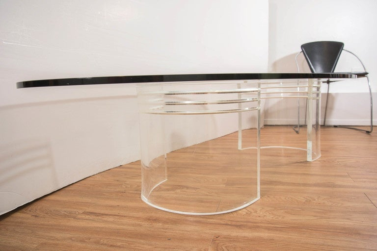 Midcentury Coffee Table With Glass Oval Top On Two 39 C