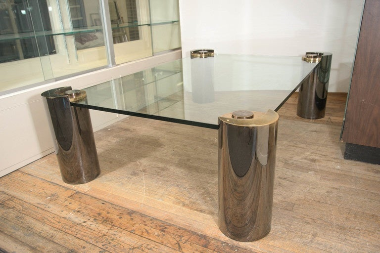Karl Springer Glass Top Coffee Table With Cylindrical Chrome And Brass Legs 2