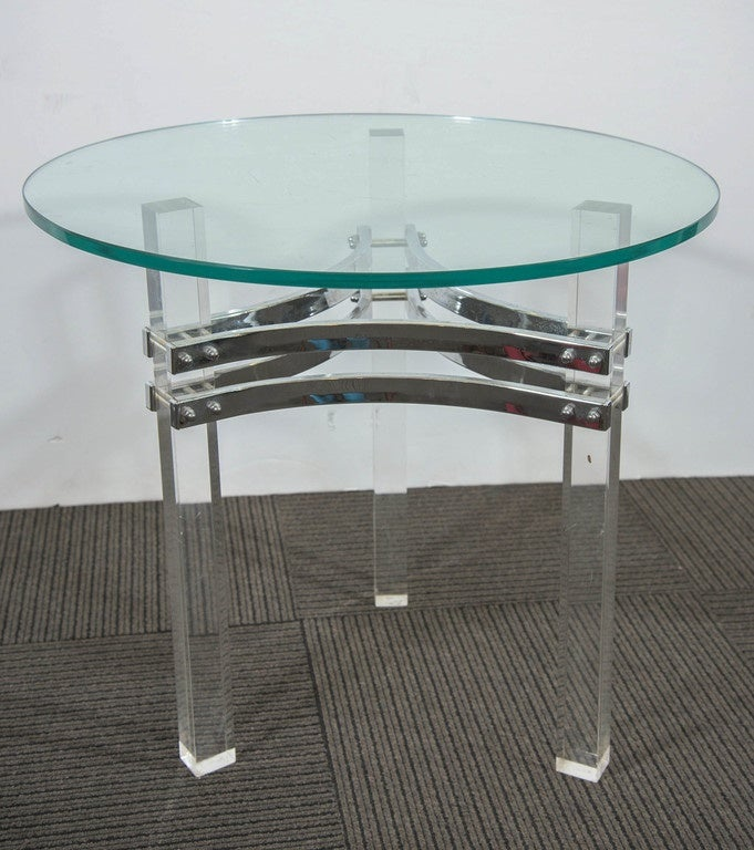 Mid-Century Modern Charles Hollis Jones Glass Top Side Table with Chrome and Lucite Base For Sale