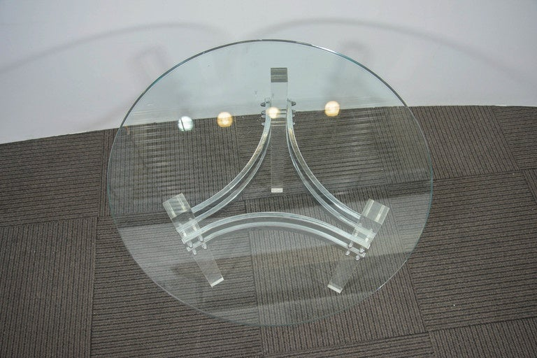Charles Hollis Jones Glass Top Side Table with Chrome and Lucite Base For Sale 1