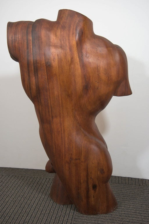 Midcentury sculptural male torso in carved brazilian