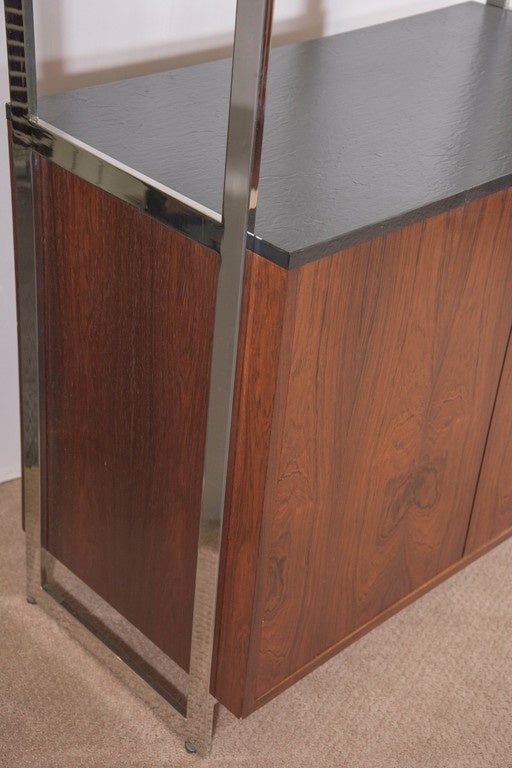 Mid-Century Modern Milo Baughman Walnut Cabinet with Chrome and Glass Etagere For Sale