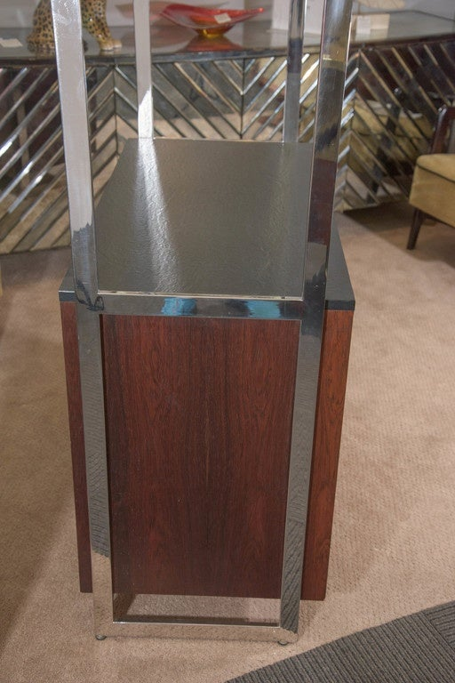 Milo Baughman Walnut Cabinet with Chrome and Glass Etagere 9