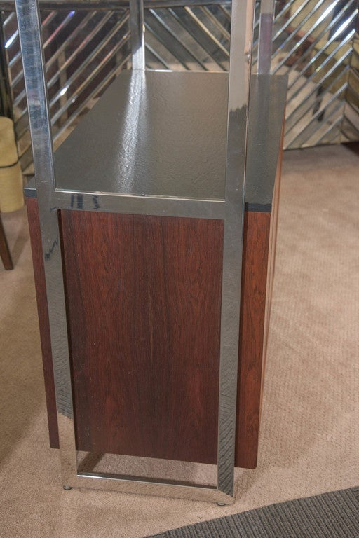Milo Baughman Walnut Cabinet with Chrome and Glass Etagere 10