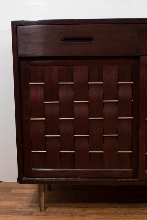 Edward Wormley Basket Weave Front Mahogany Credenza For Dunbar Furniture 2