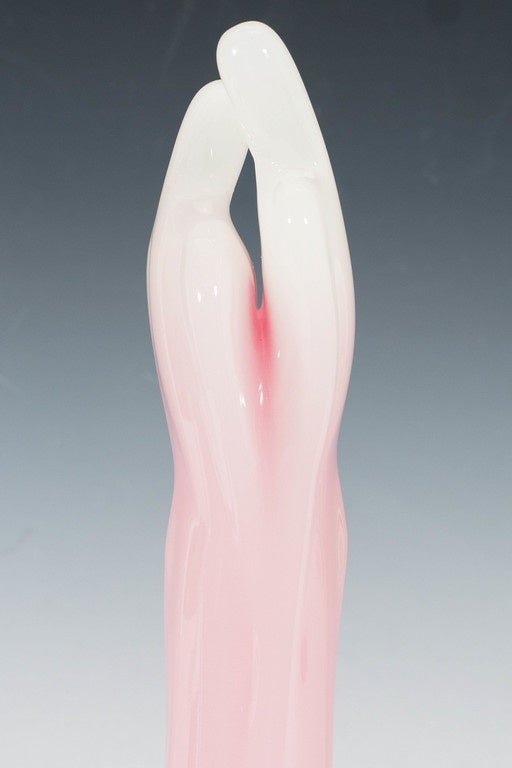 An Italian Murano Glass Opaline Sculpture of Lovers Embracing For Sale 1