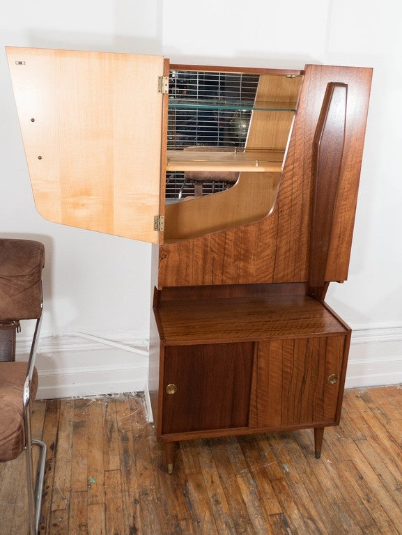 Mid-20th Century Midcentury Modern Two Tone Wood Bar and Liquor Cabinet For Sale