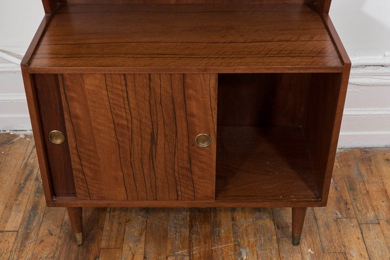 Midcentury Modern Two Tone Wood Bar and Liquor Cabinet For Sale 4