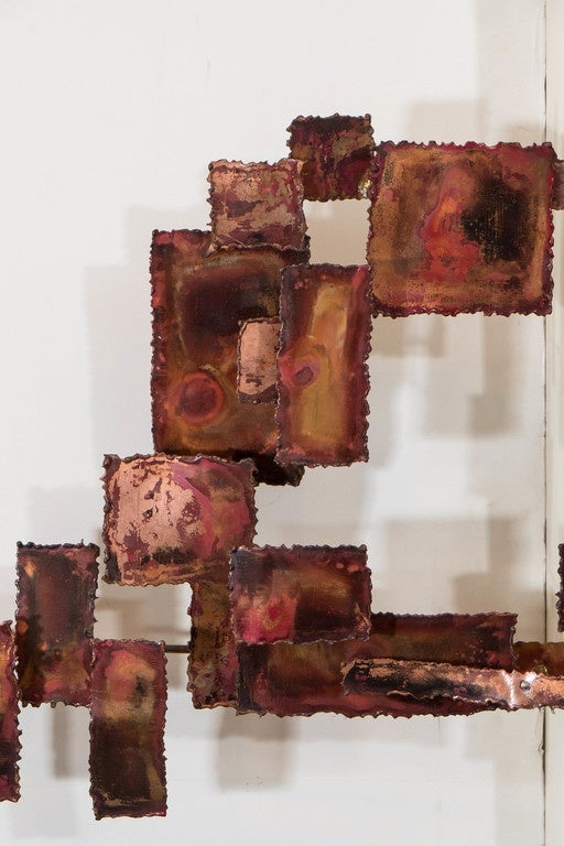 20th Century A Curtis Jere Style Abstract Brutalist Copper Wall Sculpture For Sale