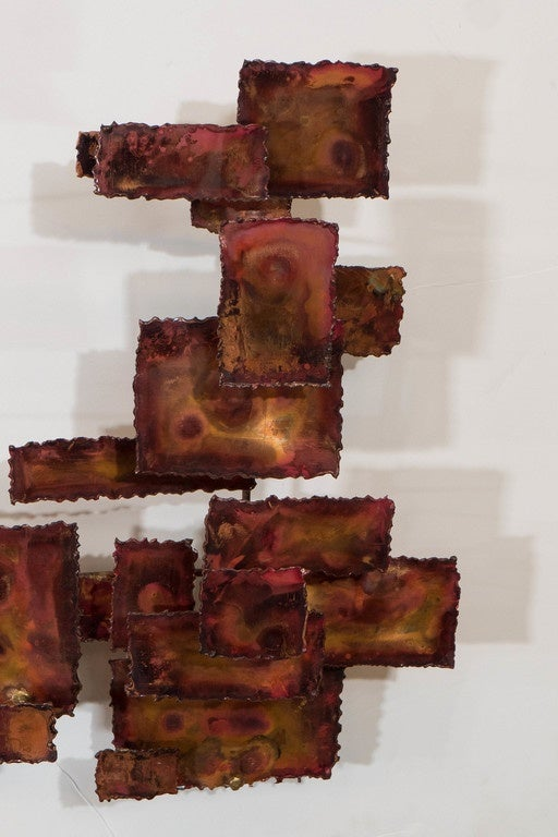A Curtis Jere Style Abstract Brutalist Copper Wall Sculpture For Sale 1